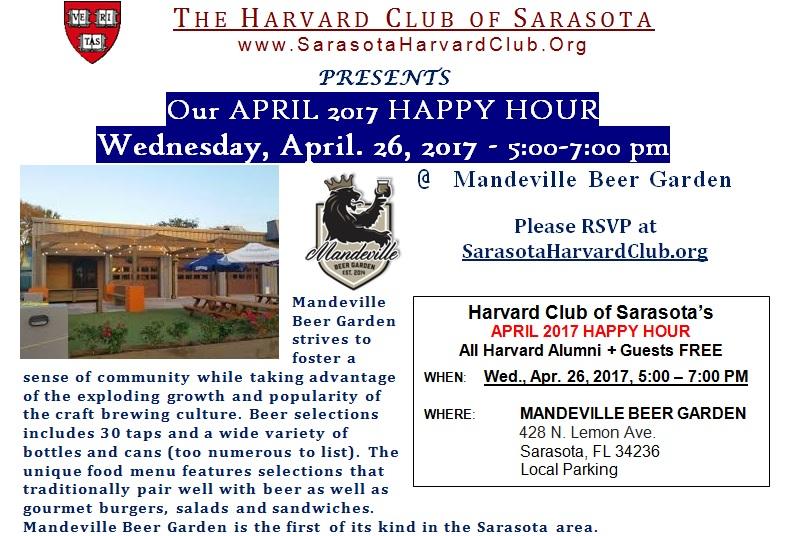 free april 2017 happy hour - Mandeville Beer Garden